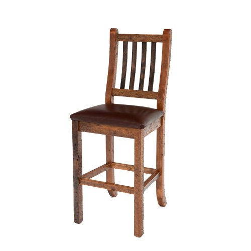 Heritage Bar Stool W Leather Seat Rustic Log