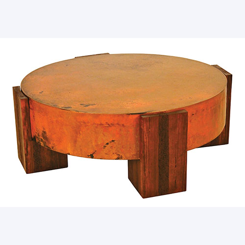 Round Tucson Copper Coffee Table - Rustic