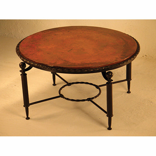 round copper coffee table - rustic   log   reclaimed   industrial
