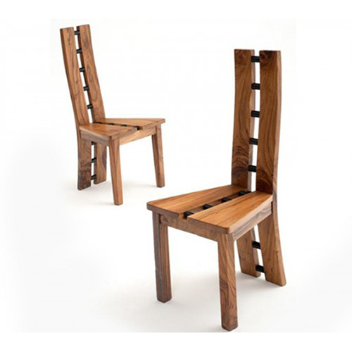 Contemporary natural wood dining chair rustic log