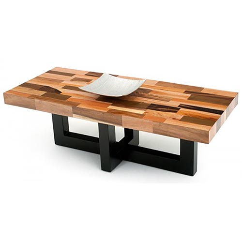 Mahogany Distressed Modern Coffee Table - Rustic