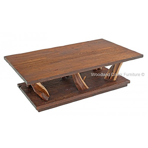 Lodge Natural Wood Coffee Table Rustic Log Reclaimed Industrial Contemporary Furniture