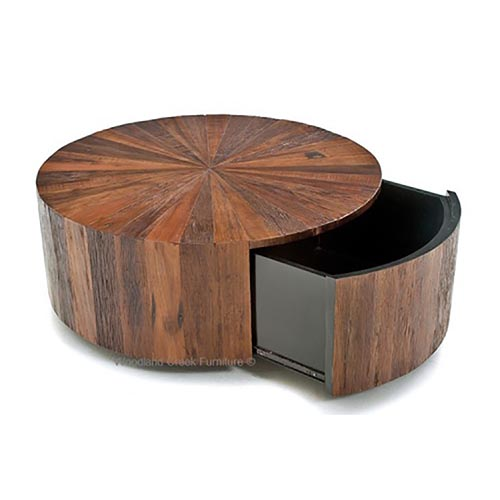 Rustic Round Coffee Table With Drawer Rustic Log Reclaimed Industrial Contemporary