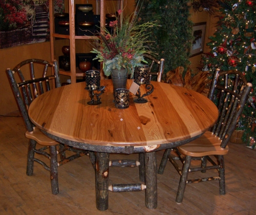 Hickory Farm Table Rustic Log Reclaimed Industrial