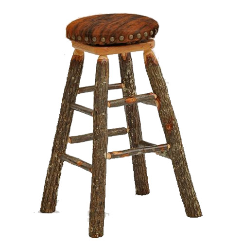Barstool With Hair On Hide Rustic Log Reclaimed