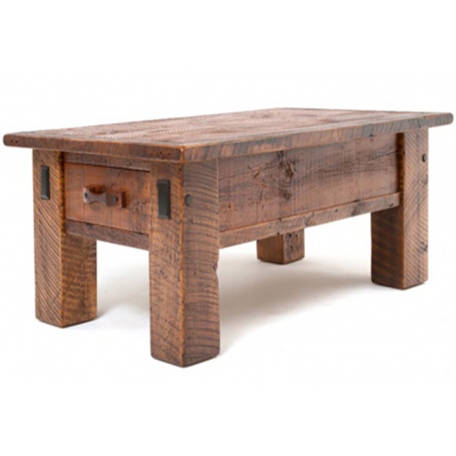 Stony Brooke 2 Drawer Coffee Table Rustic Log Reclaimed Industrial Contemporary