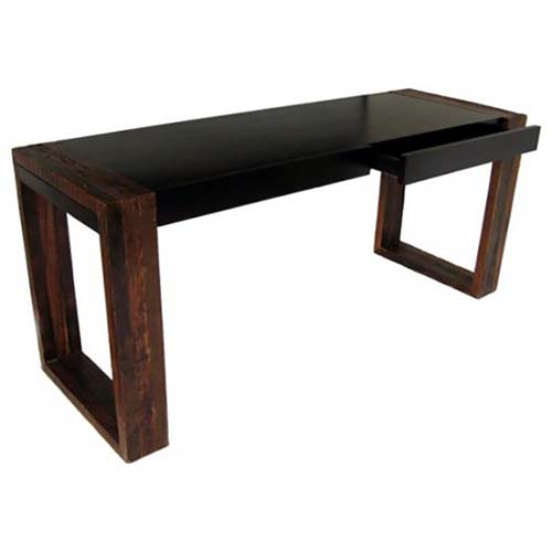 Black Rustic Wood Desk with 1 Drawer OF07318D