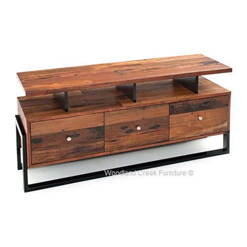 Relaxed Modern Tv Stand Rustic Log Reclaimed