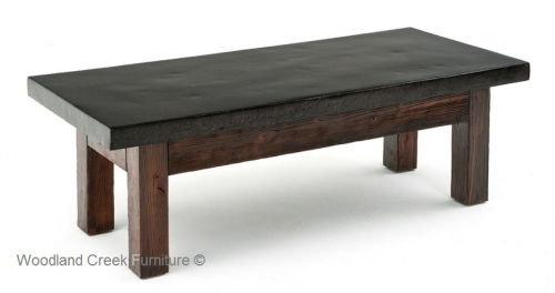 Concrete coffee table 2 rustic log reclaimed for Sofa natura 6650