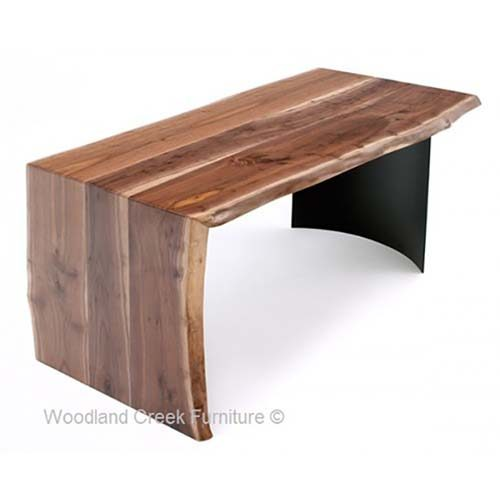 Black Walnut Wood Desk with Black Base OF07336
