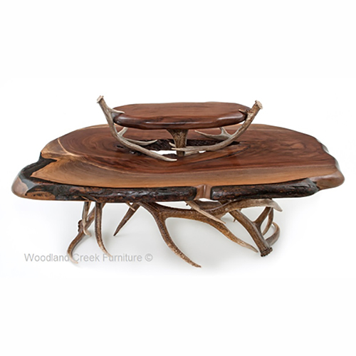 Black Walnut And Antler Coffee Table - Rustic