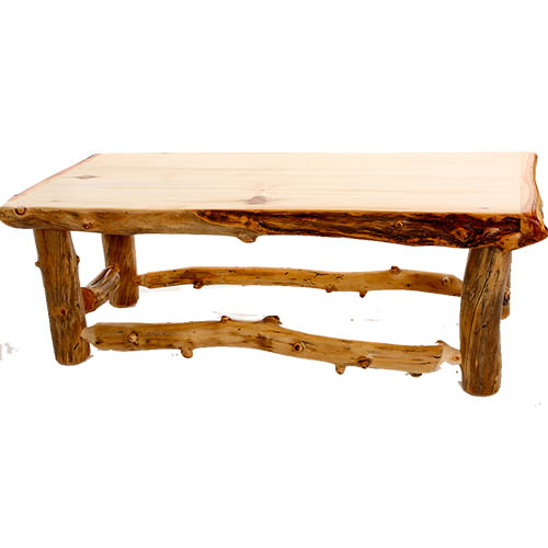 Light Aspen Coffee Table Rustic Log Reclaimed Industrial Contemporary Furniture