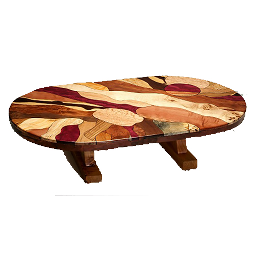 Rustic Wood Oval Coffee Table: Artistic Oval Mosaic Burl Wood Coffee Table With Juniper