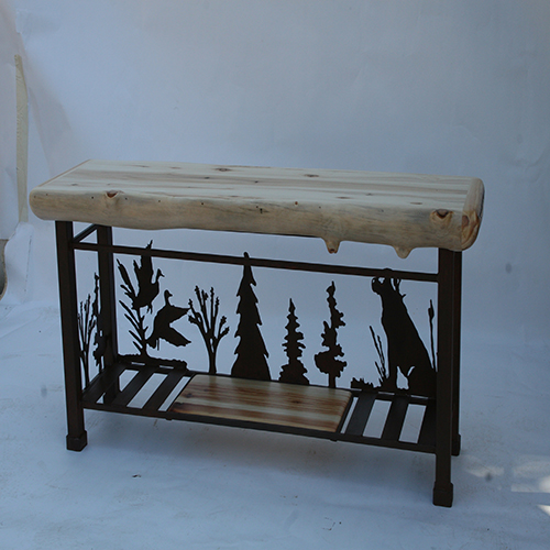 Dog Console Table ~ Metal sofa table w aspen top dog rustic log